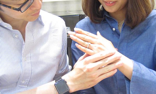 お客様の声「婚約指輪のオーダーメイドとダリアスの結婚指輪」西川様ご夫妻